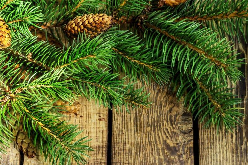 Decoração do Natal da árvore de abeto no fundo da madeira da textura foto de stock royalty free