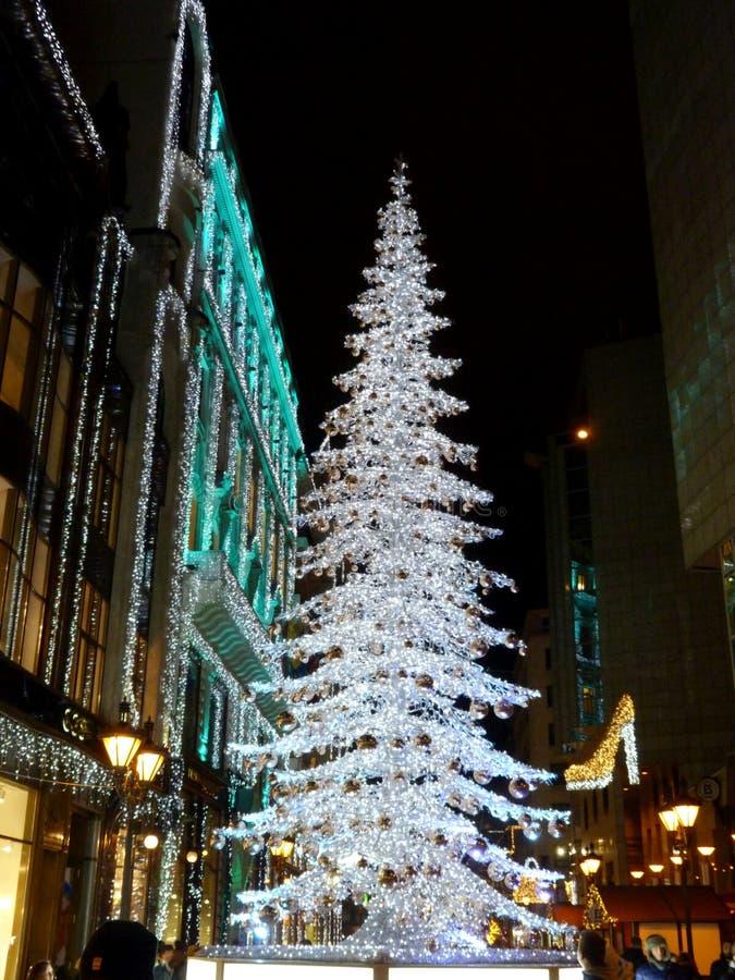 Decoração do Natal da rua no tiro da noite de Budapest imagens de stock royalty free