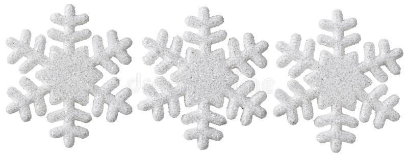 A decoração do Natal do floco de neve, branco isolou o floco da neve do Xmas imagem de stock