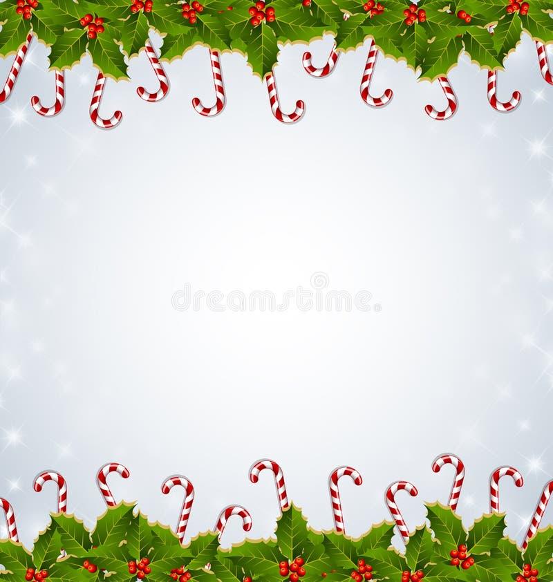 Decoração do Natal dos bastões do azevinho e de doces ilustração stock