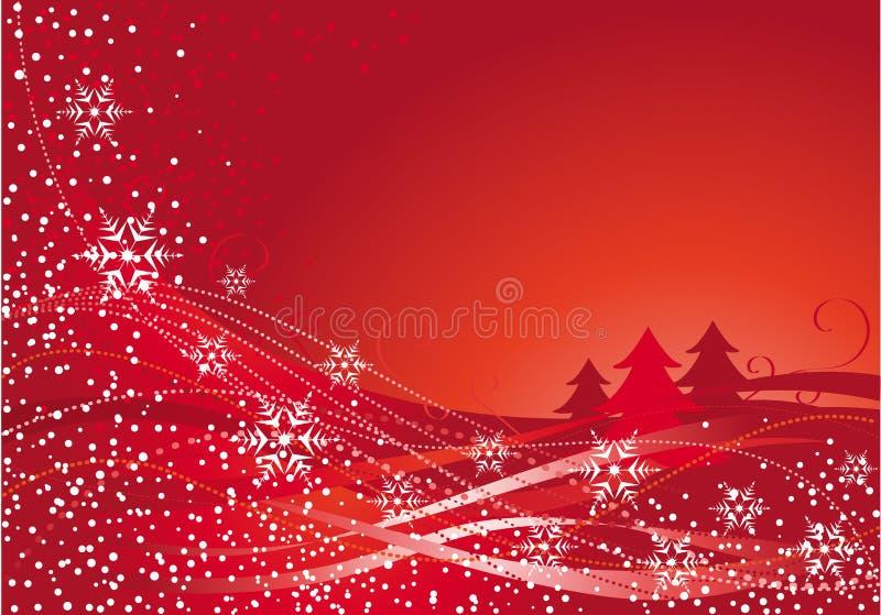 Decoração do Natal e árvore vermelha ilustração do vetor
