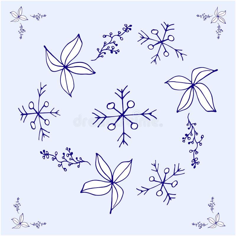 Decoração do Natal Ilustração de cor no azul ilustração royalty free