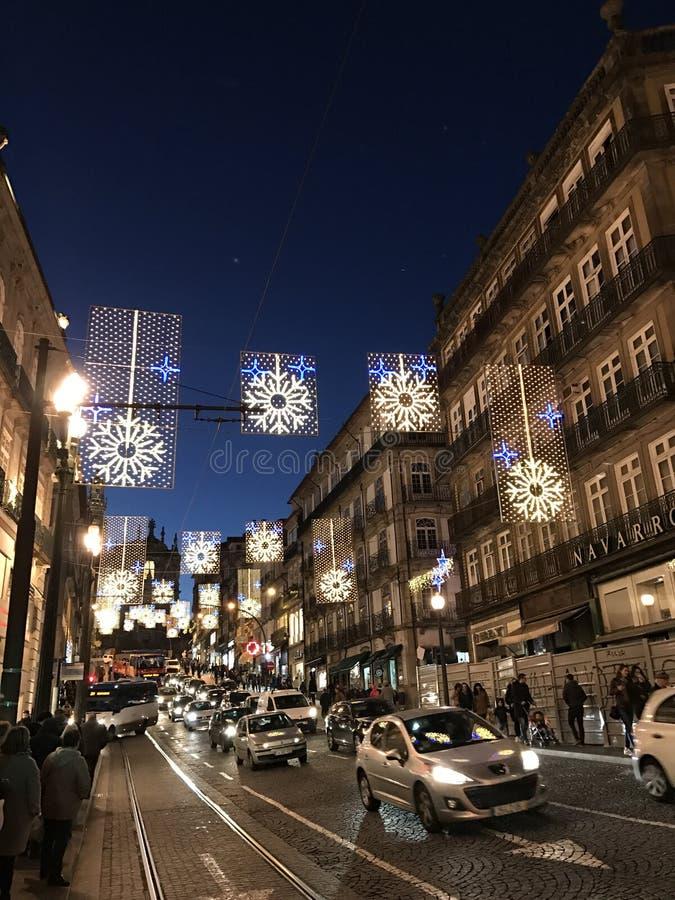 Decoração do Natal nas ruas da cidade de Porto fotos de stock