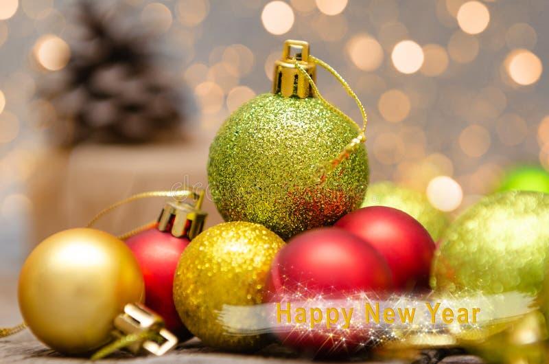 Decoração do Natal no fundo abstrato Com inscrição do ano novo feliz fotografia de stock royalty free