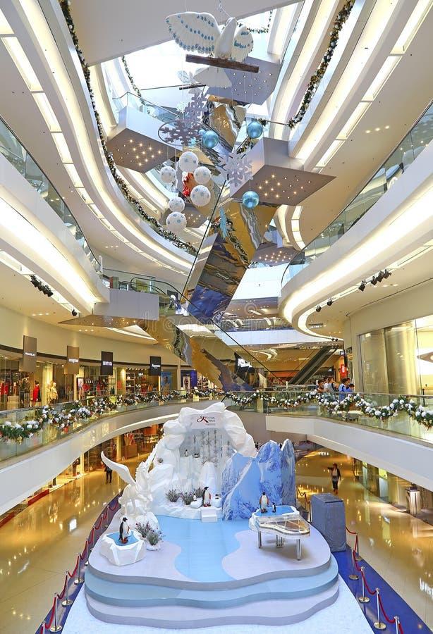Decoração do Natal no shopping da caminhada do festival, Hong Kong fotografia de stock