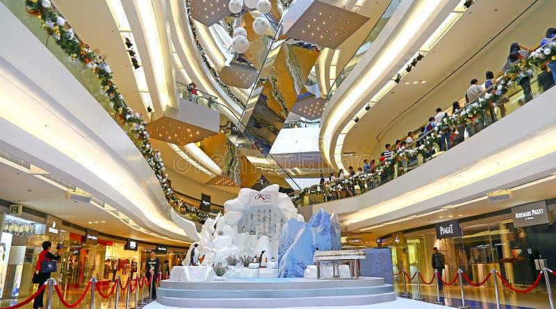 Decoração do Natal no shopping da caminhada do festival, Hong Kong fotos de stock