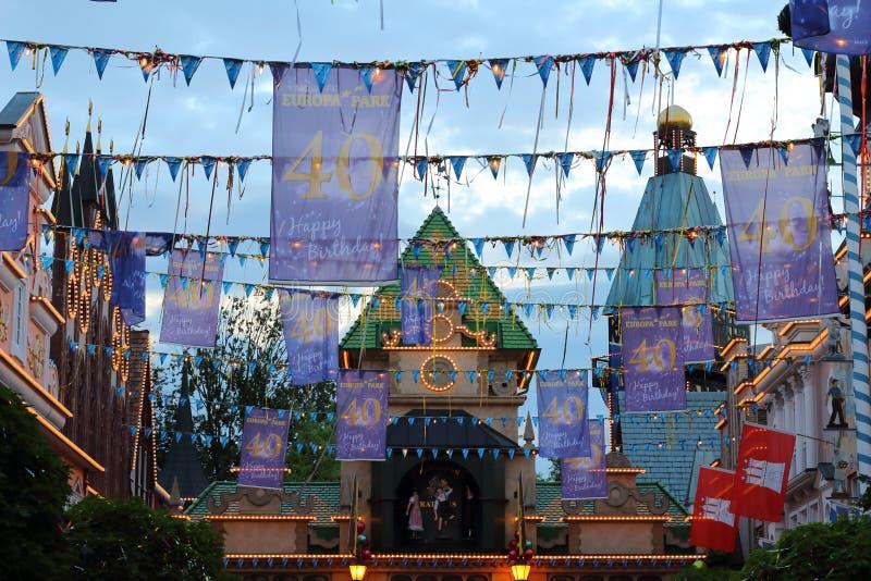 Decoração do parque do Europa do feliz aniversario fotos de stock royalty free