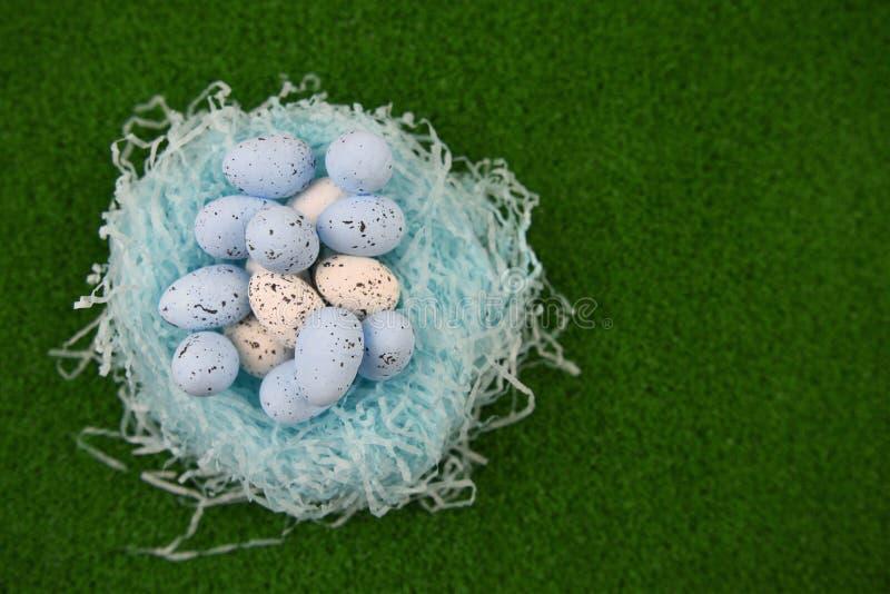 A decoração do tempo da Páscoa com um ninho de papel e um ovo azul e branco do teste padrão salpicado dá forma em um fundo da pri foto de stock royalty free