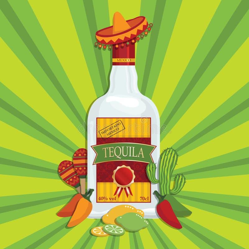 Decoração do Tequila ilustração royalty free