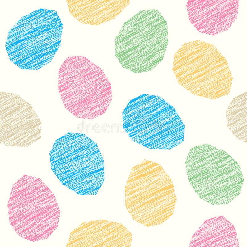 Decoração do teste padrão da Páscoa Ovos da páscoa com textura riscada seamless ilustração do vetor