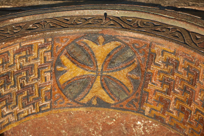 Decoração do teto, igreja rocha-desbastada, Lalibela, Etiópia Local do património mundial do Unesco fotografia de stock
