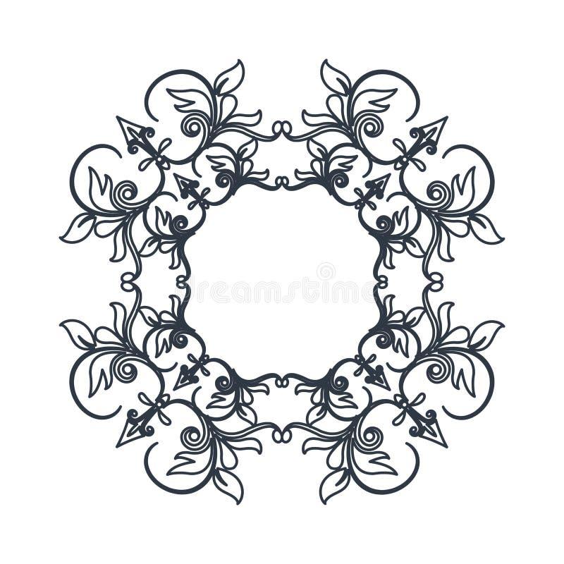 A decoração do vintage da crista roda emblema ilustração do vetor