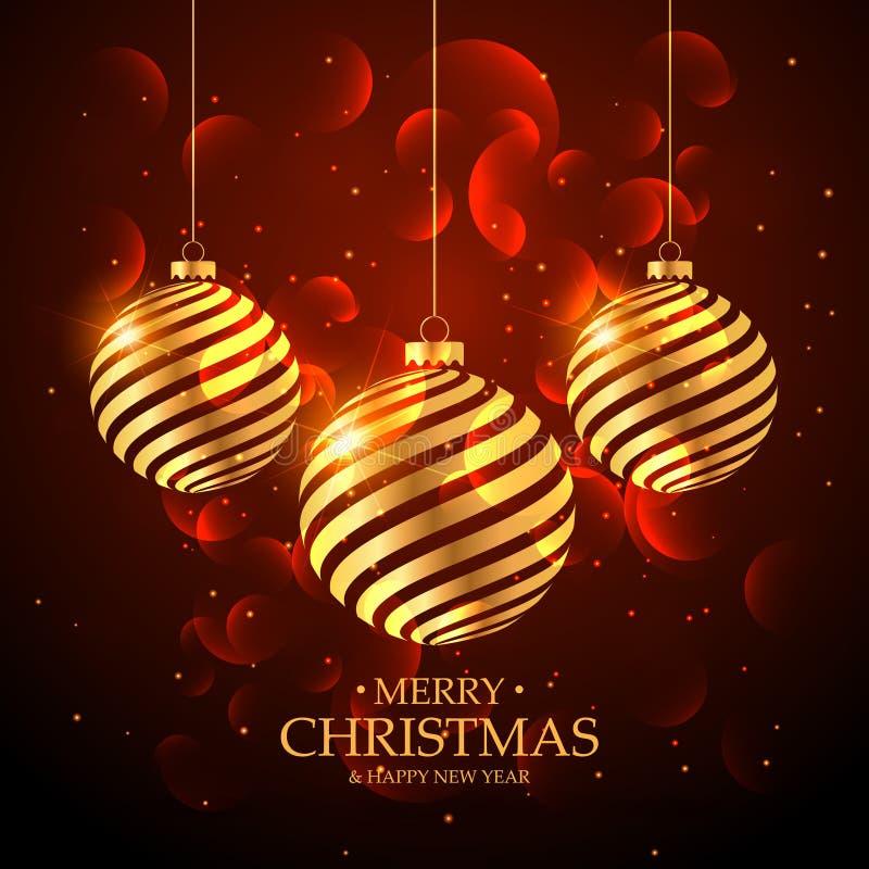 decoração dourada artística da bola do Natal no fundo vermelho com ilustração do vetor