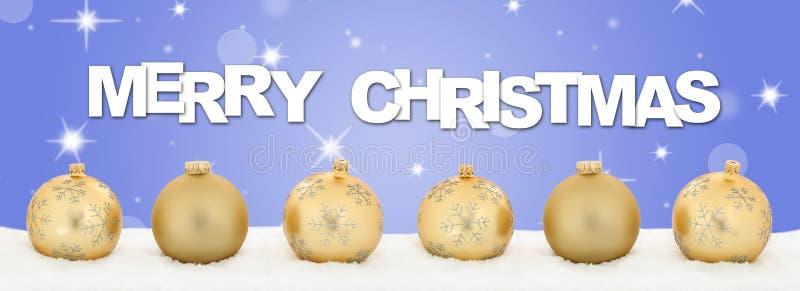 A decoração dourada da bandeira das bolas do Feliz Natal stars o fundo ilustração royalty free