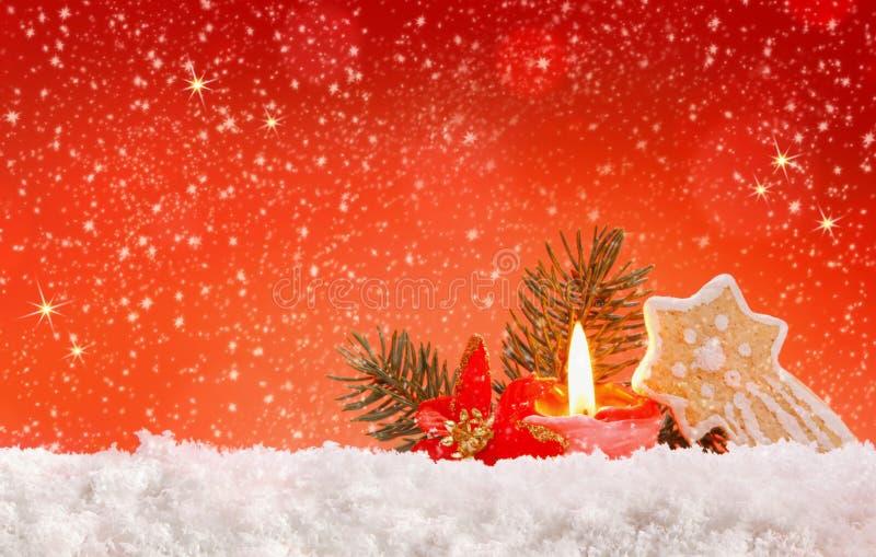 Decoração e cookie do Natal com vela do advento ilustração royalty free
