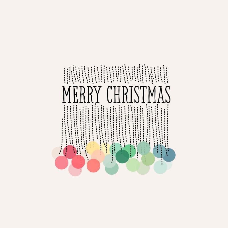 A decoração elegante do Natal com cor pastel coloriu poms do pom ilustração royalty free