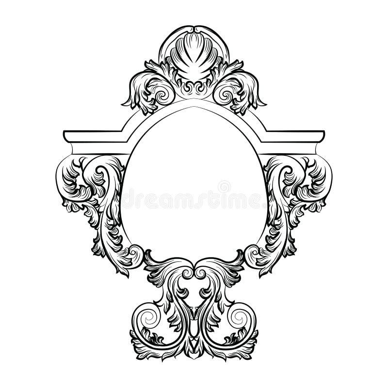 Decoração excelente do quadro do espelho dos rococós barrocos ilustração do vetor
