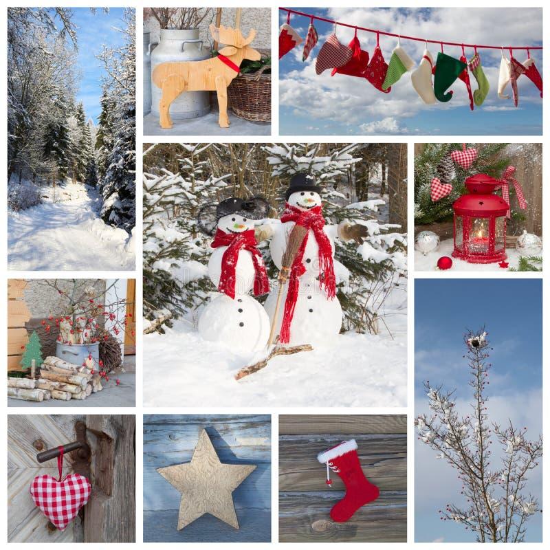 Decoração exterior do Natal no estilo country em FO azuis e vermelhas imagem de stock royalty free