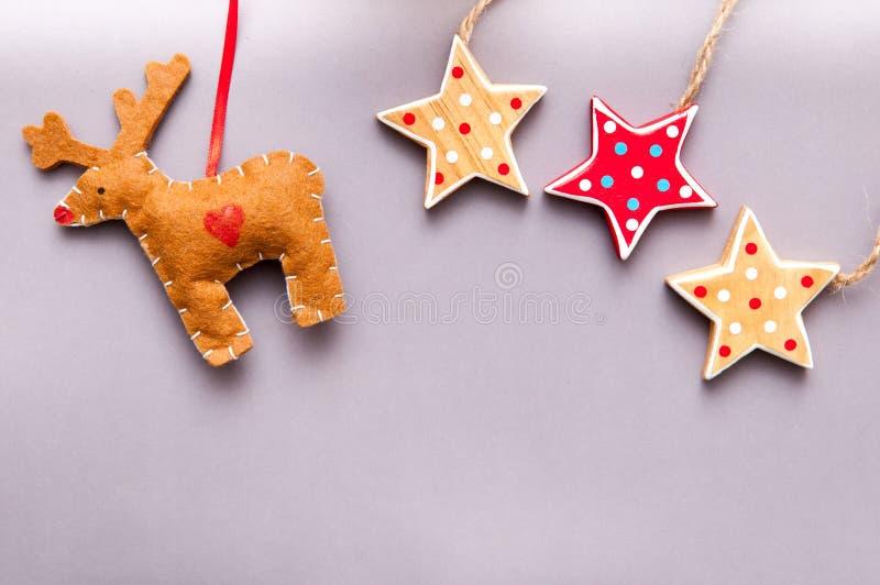 Decoração feito à mão do Natal para o backgr temático do Natal da criança foto de stock royalty free