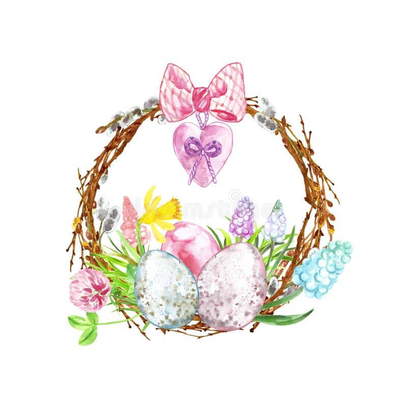 Decoração feliz de easter da aquarela Grinalda pintado à mão com ovos coloridos, ramos de árvore e as flores coloridas da mo ilustração royalty free