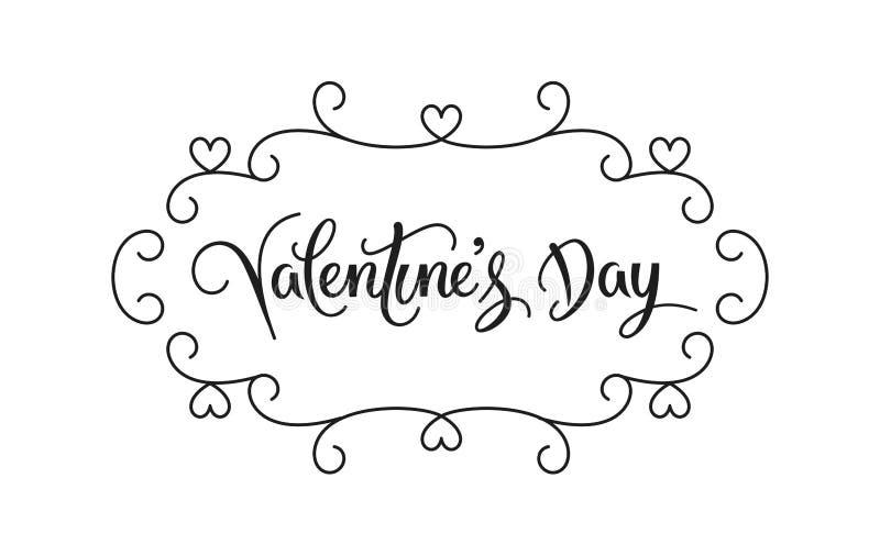 Decoração feliz e tipografia do dia de Valentim Vetor ilustração royalty free
