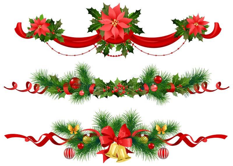 Decoração festiva do Natal com árvore spruce ilustração stock