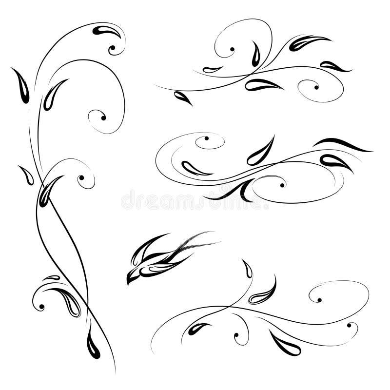 Decoração floral com pássaro Linha decorativo ajustado do redemoinho da flor à moda ilustração stock