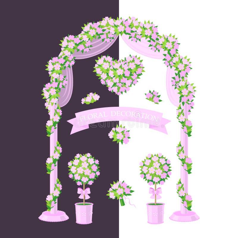 Decoração floral cor-de-rosa ilustração do vetor