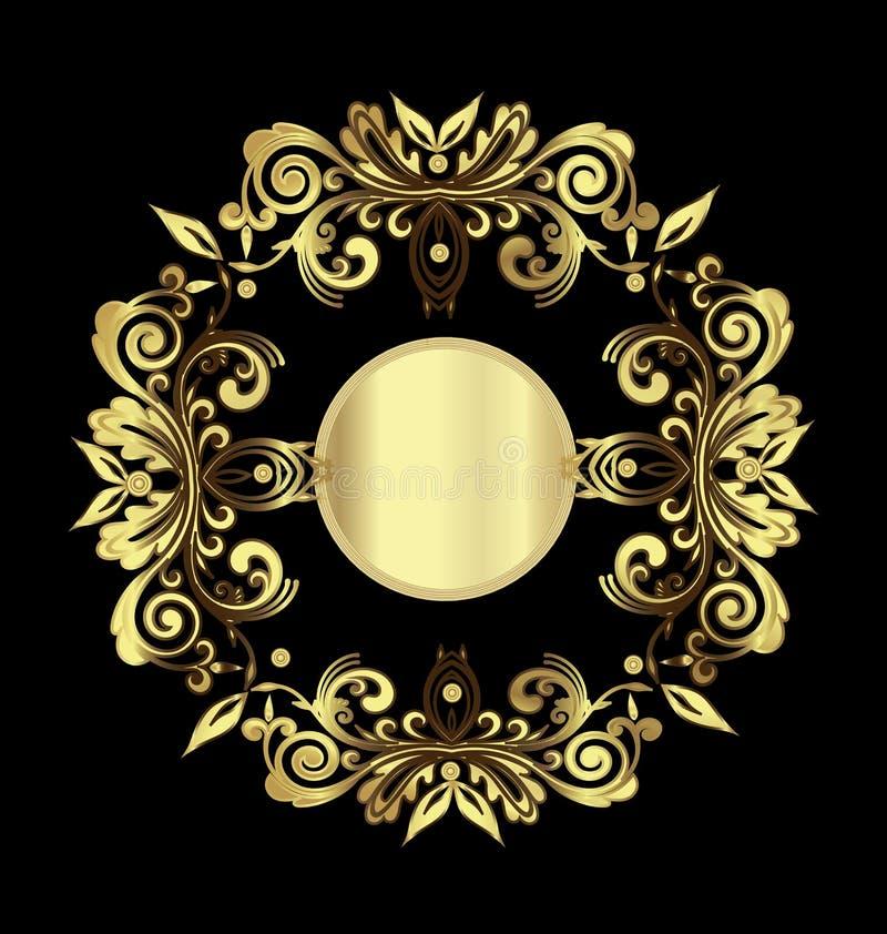 Decoração floral do ouro ilustração do vetor