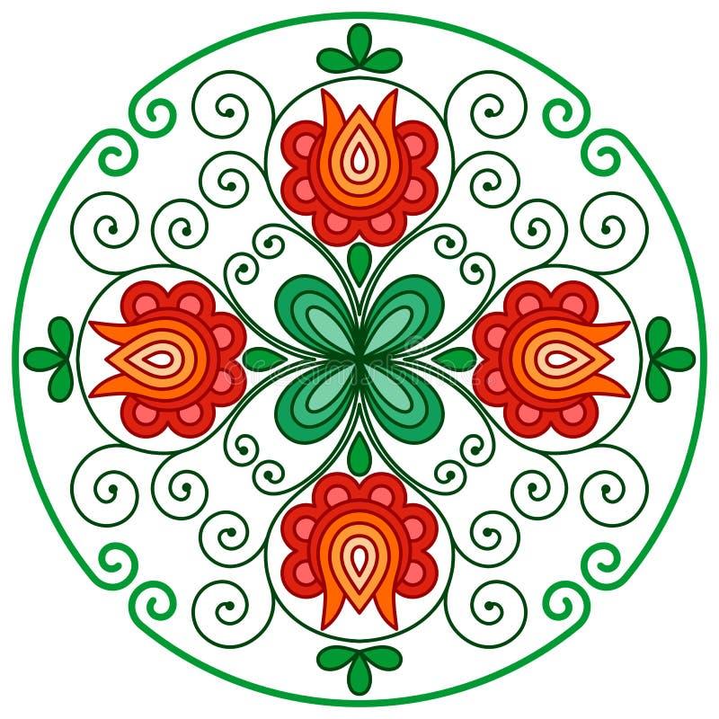 Decoração floral húngara no quadro arredondado ilustração do vetor