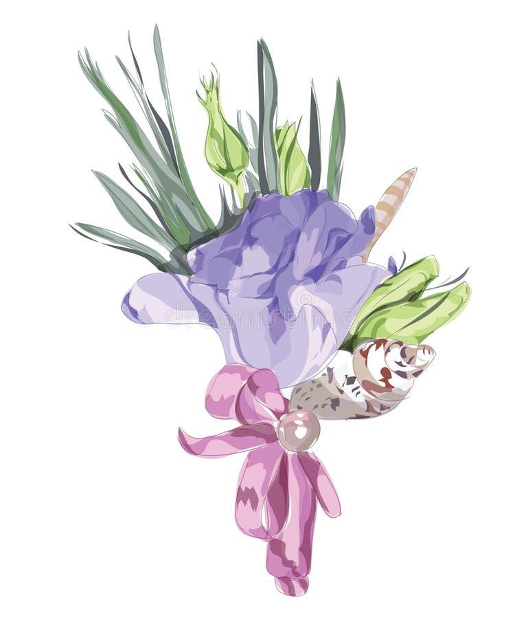 Decoração floral Wedding com Eustoma. ilustração do vetor