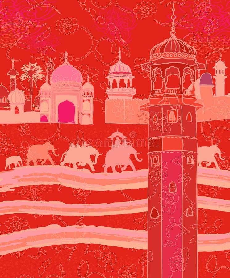 Decoração indiana com elefantes ilustração do vetor