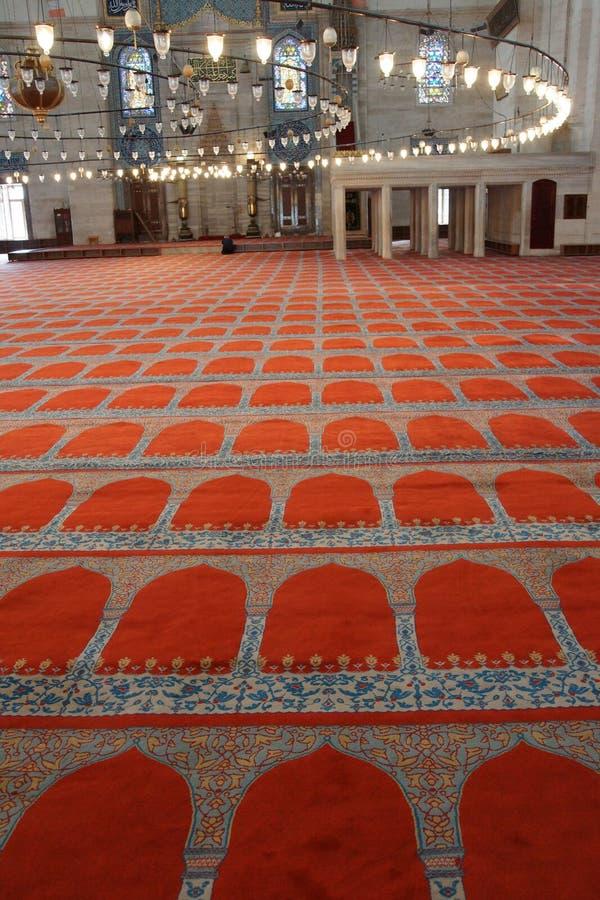 Decoração interior da mesquita de Suleymanie foto de stock