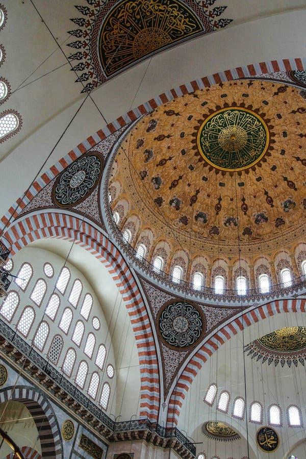 Decoração interior da mesquita de Suleymanie fotografia de stock royalty free