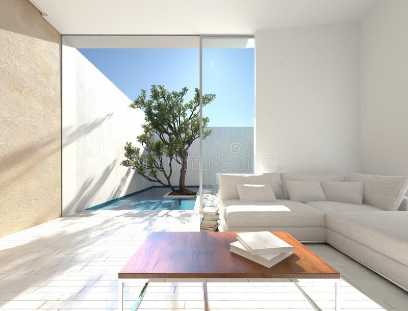 Decoração interior ensolarada de um apartamento das férias ilustração do vetor