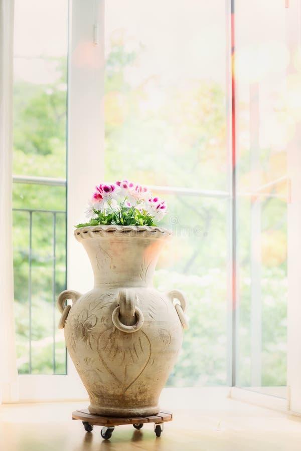Decoração interior home bonita com vaso e flores da ânfora imagens de stock royalty free