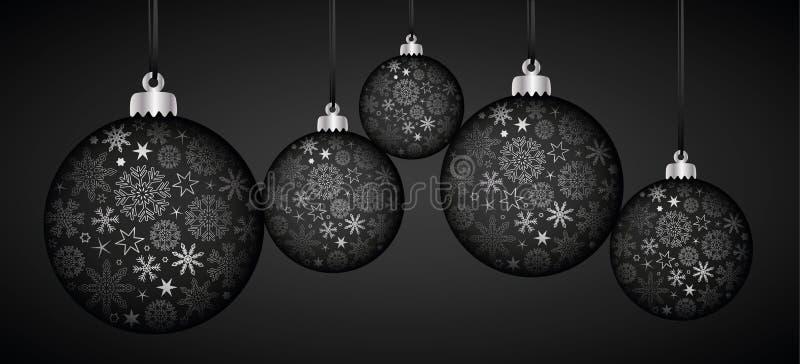 Decoração luxuosa de prata e preta da bola do Natal com flocos de neve ilustração royalty free