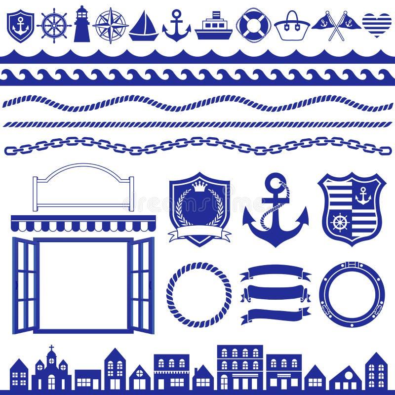 Decoração marinha ilustração royalty free