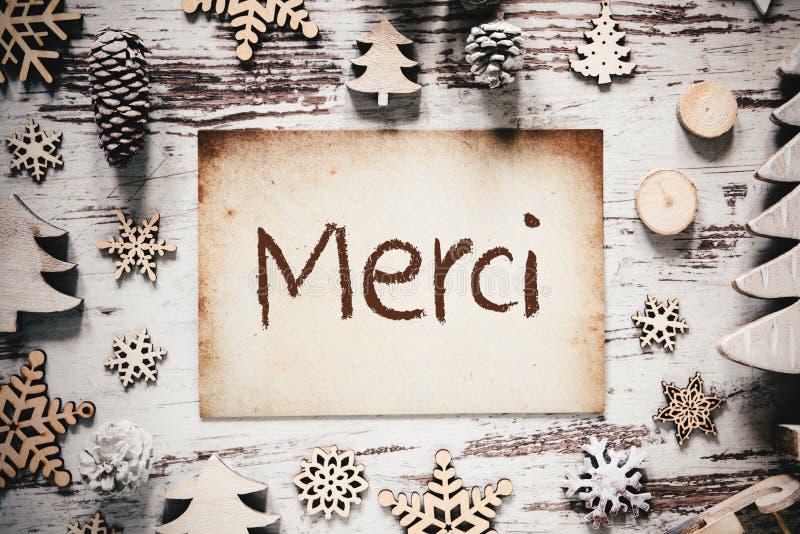 A decoração nostálgica do Natal, papel, meios de Merci agradece-lhe imagem de stock royalty free
