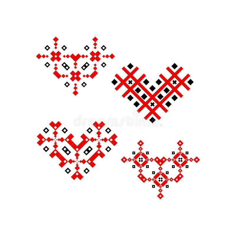 Decoração popular do projeto do ornamento do coração ilustração royalty free