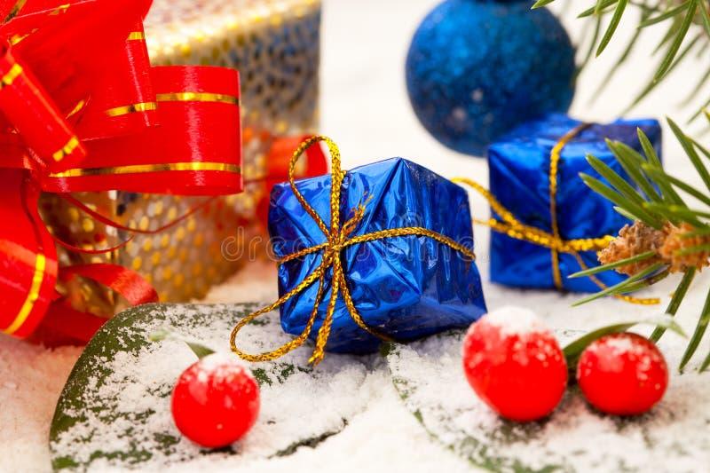 Decoração, presentes e presentes do Natal fotos de stock royalty free