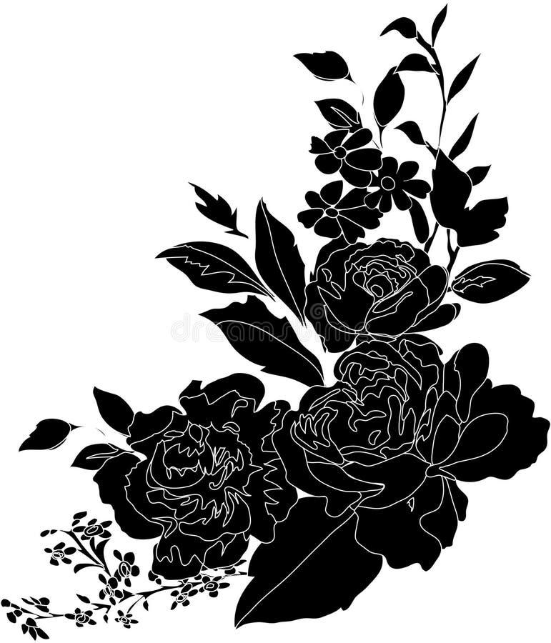 Decoração preta da flor ilustração royalty free