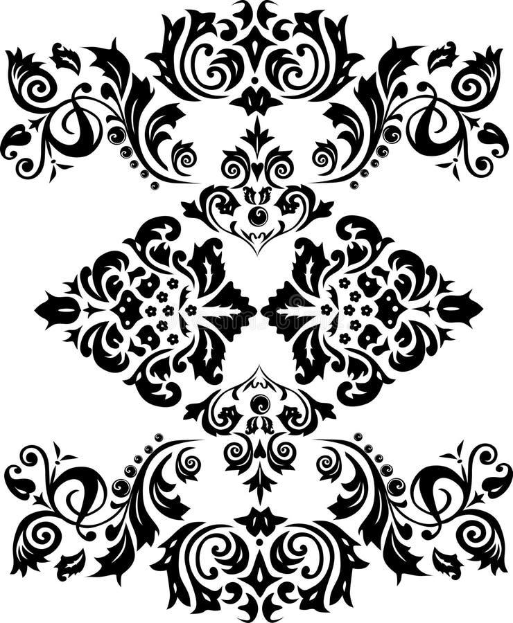 Decoração preta da folha ilustração do vetor