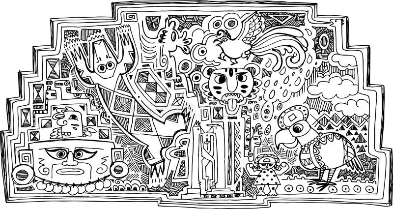 Decoração Preto E Branco Do Maya Fotografia de Stock Royalty Free