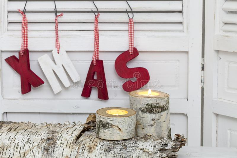 Decoração rústica do Natal com Xmas da palavra fotografia de stock