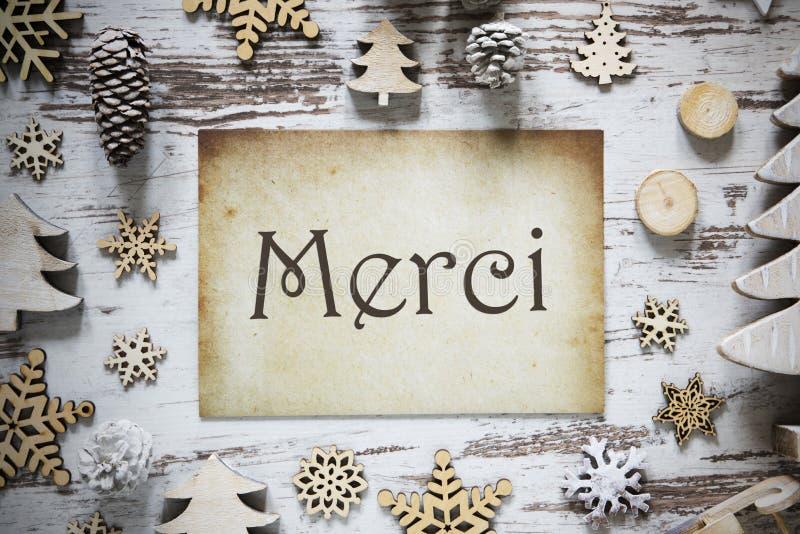 A decoração rústica do Natal, papel, meios de Merci agradece-lhe fotografia de stock royalty free