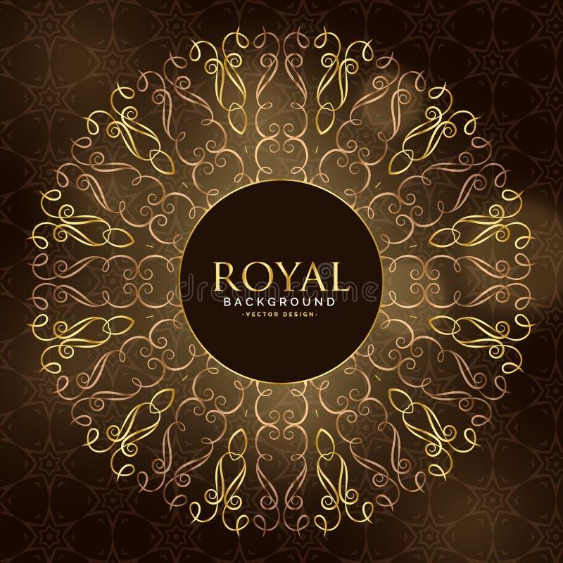 Decoração real dourada do ornamental da mandala ilustração royalty free