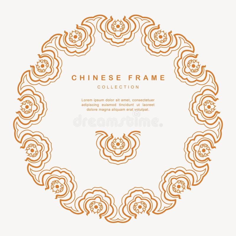Decoração redonda Elemen do projeto do Tracery do quadro do chinês tradicional ilustração stock