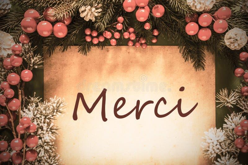 A decoração retro do Natal, ramo de árvore do abeto, meios de Merci agradece-lhe imagem de stock royalty free
