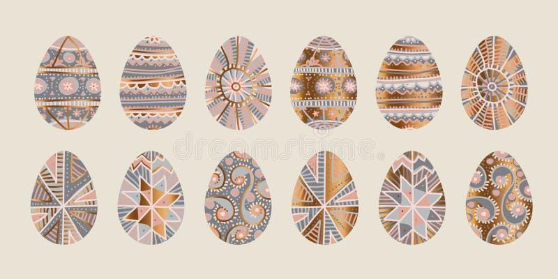 Decoração tradicional do ovo da páscoa em cor-de-rosa e cinzento pálidos ilustração stock